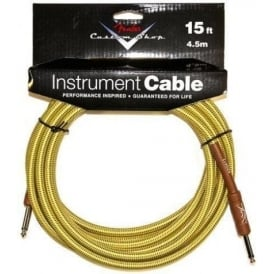 Fender Custom Shop 15ft Tweed Instrument Cable Straight to Straight