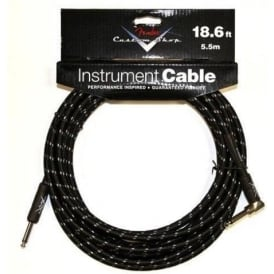 Fender Custom Shop 18.6ft Black Tweed Instrument Cable Straight to Angled 099-0820-038
