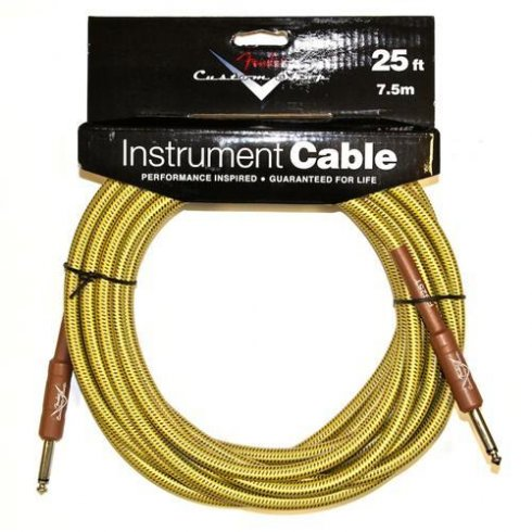 Fender Custom Shop 25ft Tweed Instrument Cable Straight to Straight