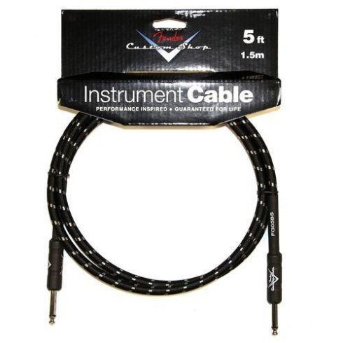 Fender Custom Shop 5ft Black Tweed Instrument Cable Straight to Straight