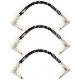 "Fender Custom Shop 6"" Black Tweed Angled Patch Cables - 3-Pack"