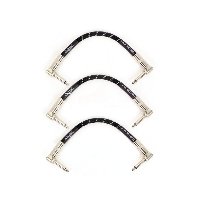 "Fender Custom Shop 6"" Black Tweed Angled Single Patch Cable Bundle 3-Pack Bundle"