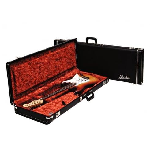 Fender Deluxe Strat/Tele Electric Guitar Hard Case, Black with Orange Lining