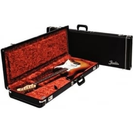 Fender Deluxe Strat/Tele Electric Guitar Hard Case, Black with Orange Lining