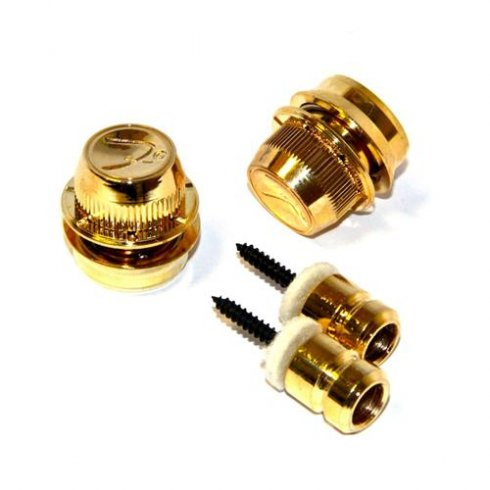 "Fender ""F"" Straplocks Gold (Pair) for Guitar Security"