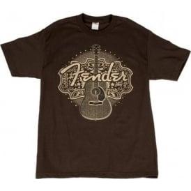 Fender Acoustic Design Brown T-Shirt - Large