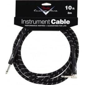 Fender Custom Shop 10ft Black Tweed Instrument Cable Straight to Angled