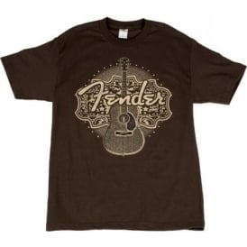 Fender Genuine Country Western Acoustic Design Brown Mens Medium T-Shirt