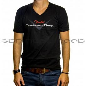 Fender Genuine Merchandise Custom Shop Logo Men's V-Neck T-Shirt in Black, Medium