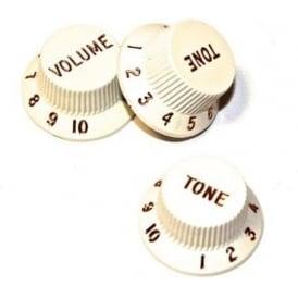 Fender Genuine Stratocaster Guitar Volume & Tone White Knob Set 099-2035-000