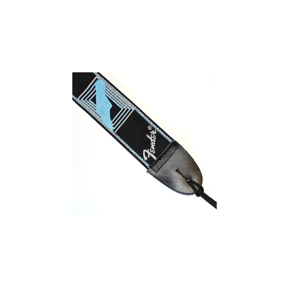 fender jacquard monogrammed guitar strap  grey  blue design