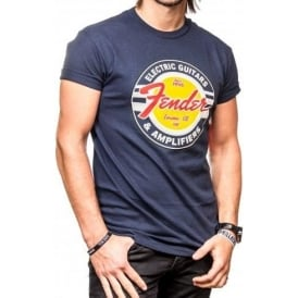 Fender Genuine G & A Classic Circle Logo Navy Blue Large T-Shirt