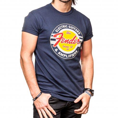 Fender Genuine G & A Classic Circle Logo Navy Blue Medium T-Shirt