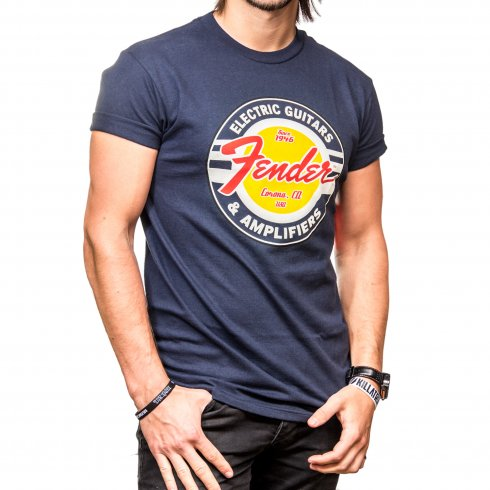 Fender Genuine G & A Classic Circle Logo Navy Blue Small T-Shirt,