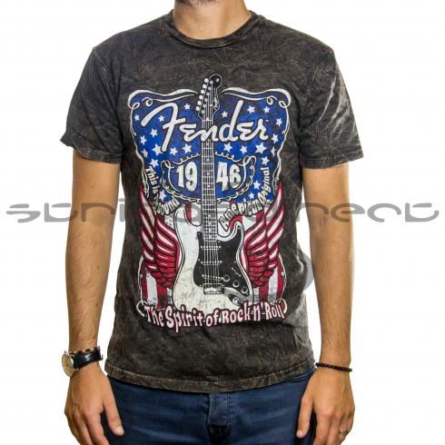Fender Genuine Grey Spirit of Rock Flag Mens Small T-Shirt