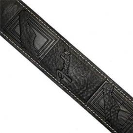 Fender Genuine Monogrammed Leather Black Guitar Strap 099-0681-006