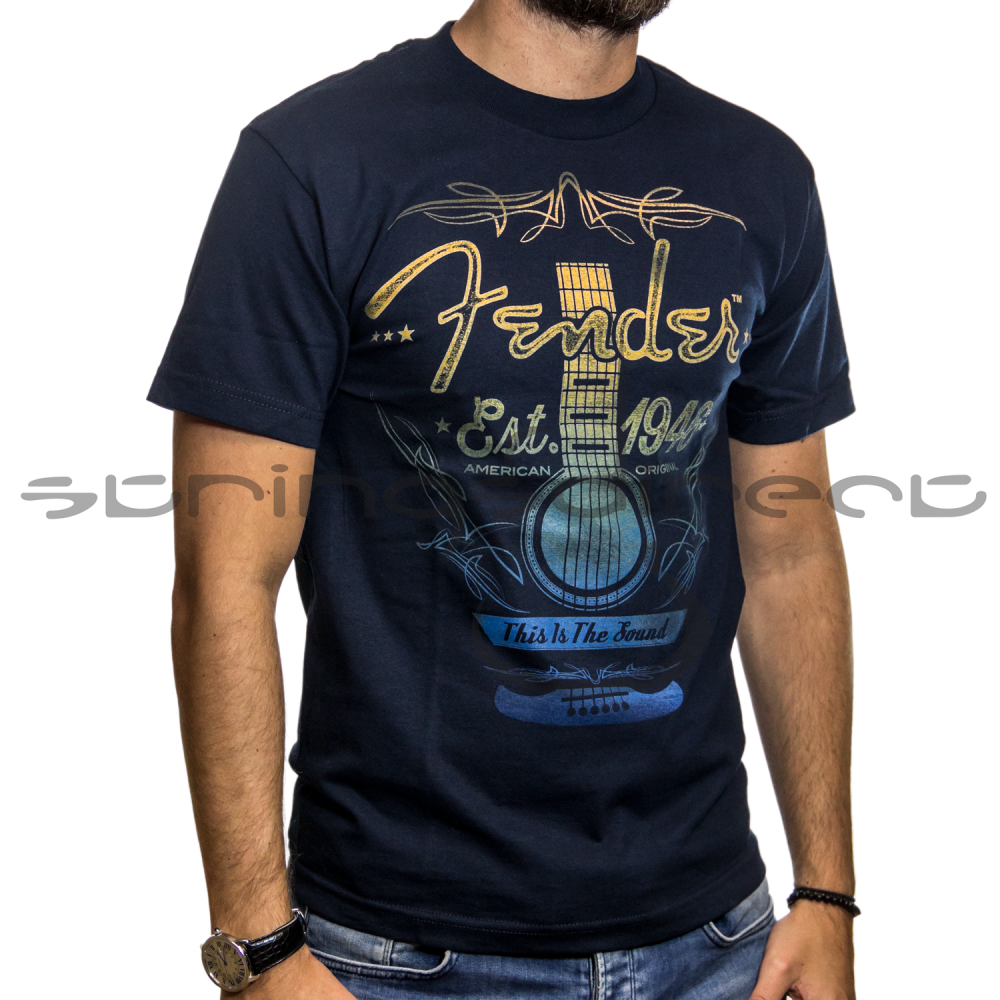 Fender Genuine Navy Ombre Folk Acoustic T Shirt Extra Large