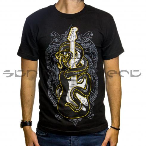 Fender Genuine Official Black Viper Snake Mens Small T-Shirt