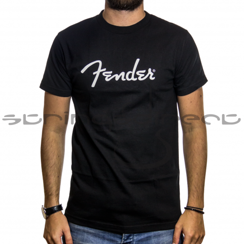 Fender Genuine Spaghetti White Logo Black T-Shirt in XXL Size 910-1000-806