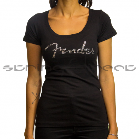 Fender Ladies Sequin Logo Black T-Shirt, Large