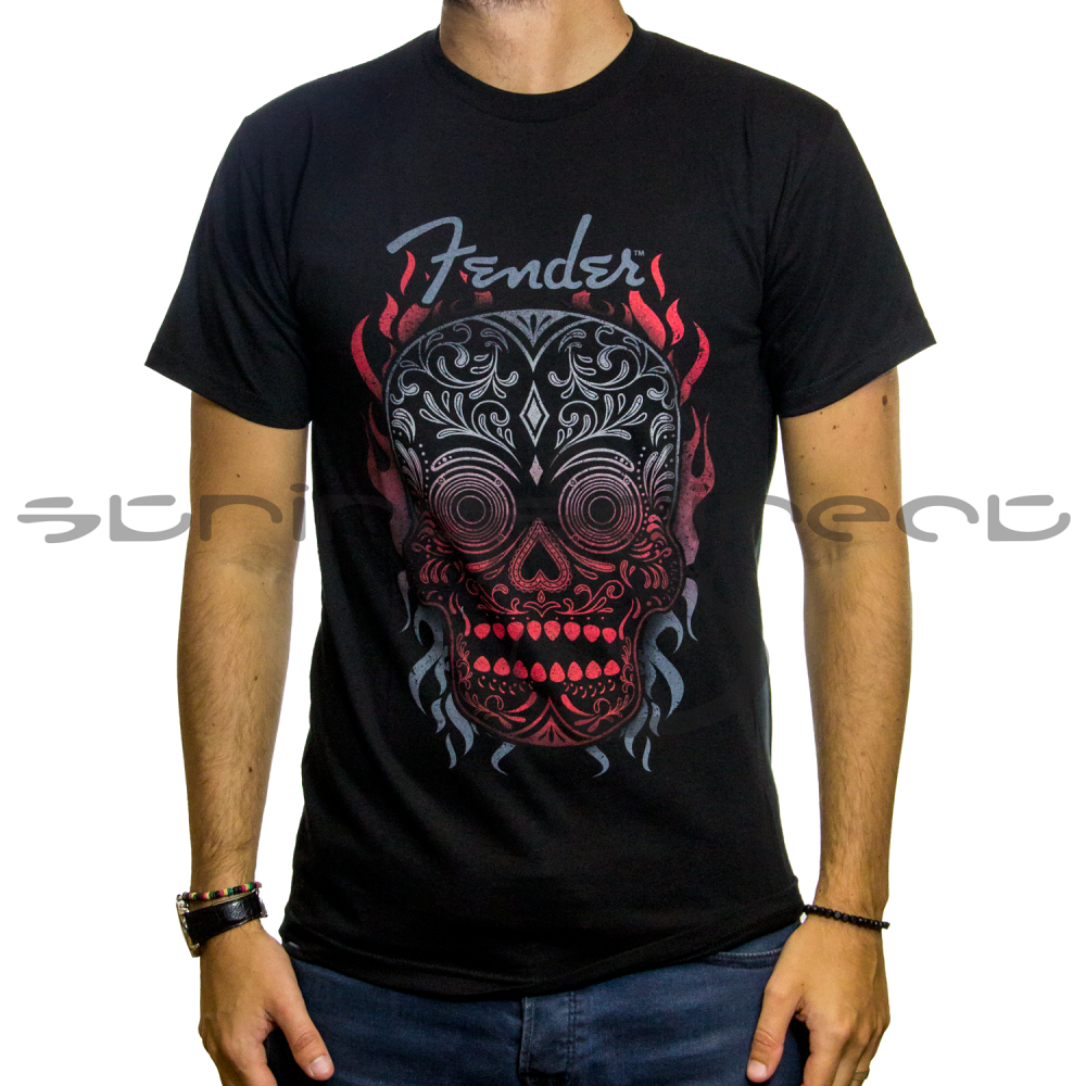 fender official black day of the dead skull mens small t shirt. Black Bedroom Furniture Sets. Home Design Ideas