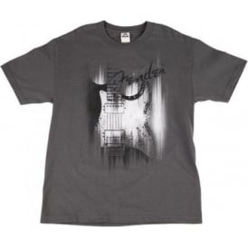 Fender Official T-Shirt Grey Airbrush Mens Medium Size 910-1369-406