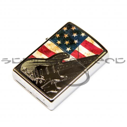 Fender Official Zippo Etched USA Flag Stratocaster Lighter 910-0235-406