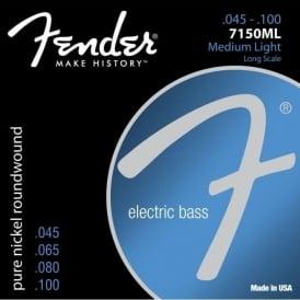 Fender Original 7150ML Pure Nickel Wound Bass Guitar Strings, 45-100, Long Scale