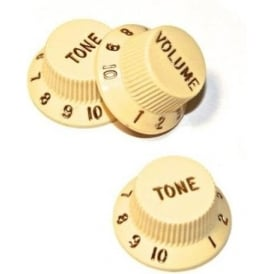 Fender Original Stratocaster Electric Guitar Control Knobs Aged White 3-Pack 099-1369-000