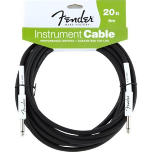 Fender Performance Series 20ft Black Instrument Cable Straight to Straight