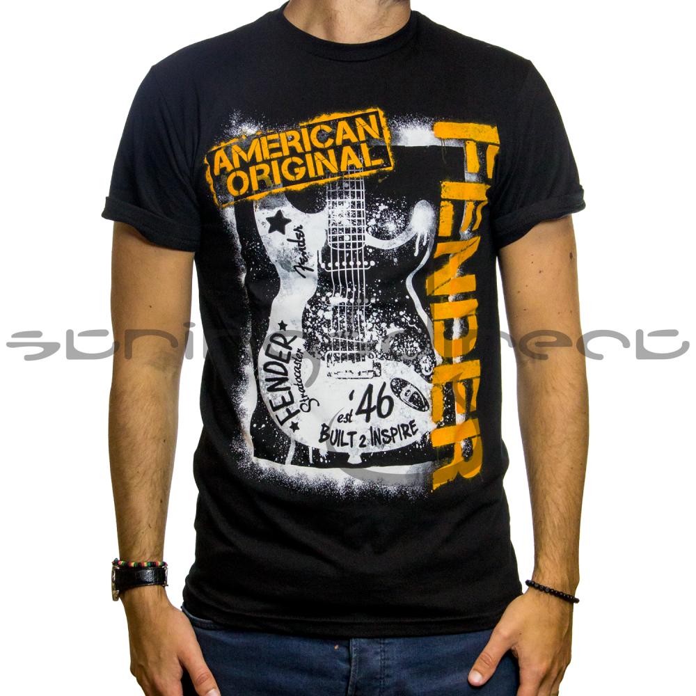 Graffiti T-Shirts Designs | Fender Genuine Black Spraypaint Graffiti Design Mens Small T Shirt