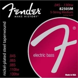 Fender Super Bass 82505M Nickel Plated Steel Bass Guitar Strings 45-130 Long Scale 5-String