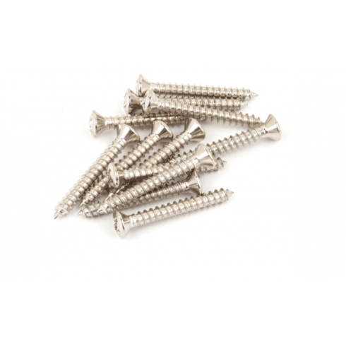 Vintage-Style Bass/Telecaster Bridge & Strap Button Mounting Screws, Nickel-Plated, 12-Pack