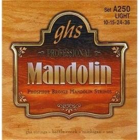 GHS A250 Phosphor Bronze Loop End Mandolin Strings 10-36 Light 8-String Set
