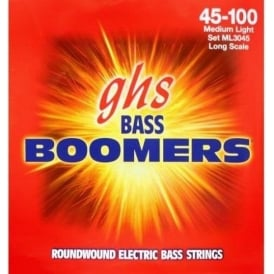GHS Bass Boomers ML3045X Nickel Plated Steel Bass Guitars Strings 45-100 Extra Long Scale