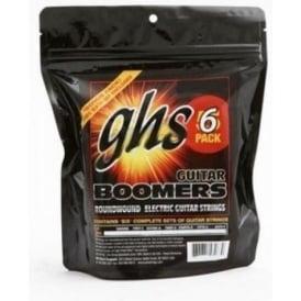 GHS Boomers GBL-6 Nickel Plated Steel Electric Guitar Strings 10-46 Light 6-Pack