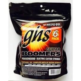 GHS Boomers GBM-6 Nickel Plated Steel Electric Guitar Strings 11-50 Medium 6-Pack