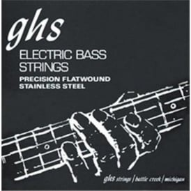 GHS 4-Strings Precision Flats Stainless Steel Flatwound 45-105 Long Scale Plus Bass Guitar Strings M3050