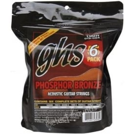 GHS Phosphor Bronze S325-6 Copper-Tin-Phosphor Alloy Acoustic Guitar Strings, 12-54, 6-Pack
