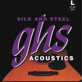 GHS Silk and Steel 345 Silver Plated Copper Acoustic Guitar Strings 10-42 Gauge