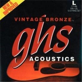 GHS Vintage Bronze VN-12CL 85/15 Copper Zinc Acoustic Guitar Strings 10-46 12-String Custom Light
