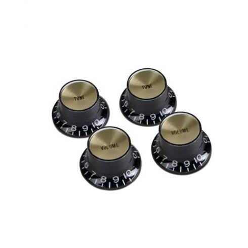 gibson genuine top hat style knobs 4 pack black with gold inserts for electric guitar parts. Black Bedroom Furniture Sets. Home Design Ideas