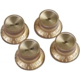 Gibson Top Hat Knobs 4-Pack Gold with Gold Inserts for Electric Guitar PRMK-030