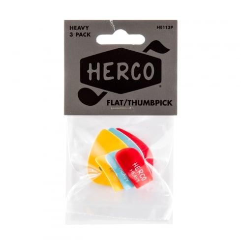 Herco Flat Thumb Pick - Heavy (3-Pack)