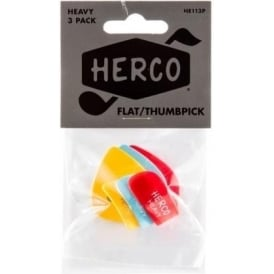 Herco Flat Thumb Pick - Heavy (3-Pack)