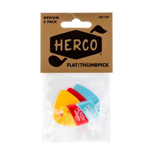 Herco Flat Thumb Pick - Medium (3-Pack)