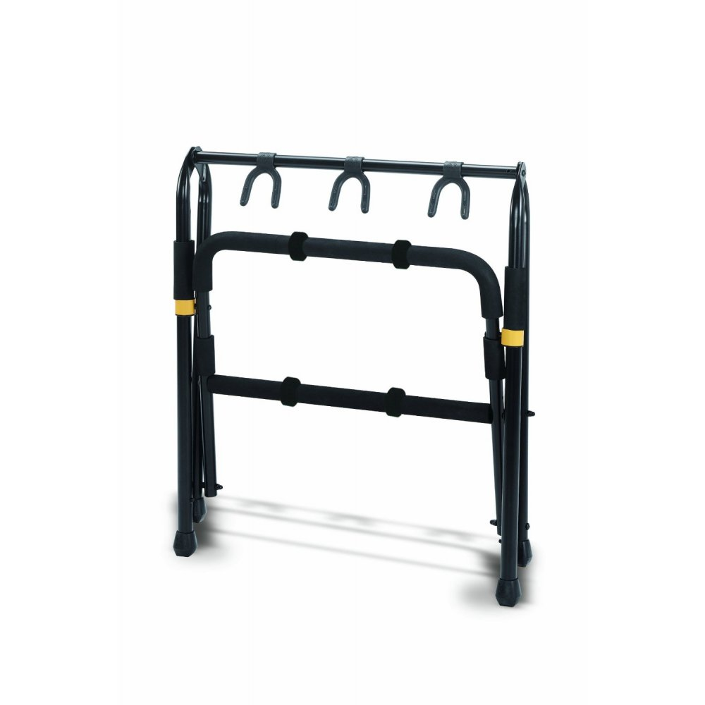 hercules gs523b 3 way folding guitar stand rack for guitar and bass. Black Bedroom Furniture Sets. Home Design Ideas
