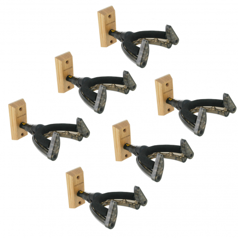 Hercules GSP38WB Short-Arm Classical Guitar Wall Hanger, Wooden Base, 6-Pack
