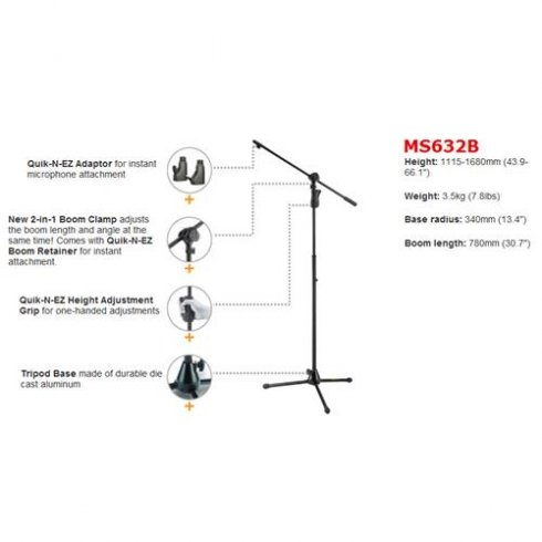 Hercules MS632B Super EZ Grip 2-in-1 Microphone Boom Stand