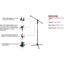 Hercules MS632B Super EZ Grip 2-in-1 Microphone Boom Stand